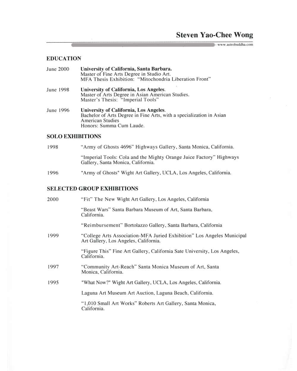 Steven Wong's Resume, pg 1